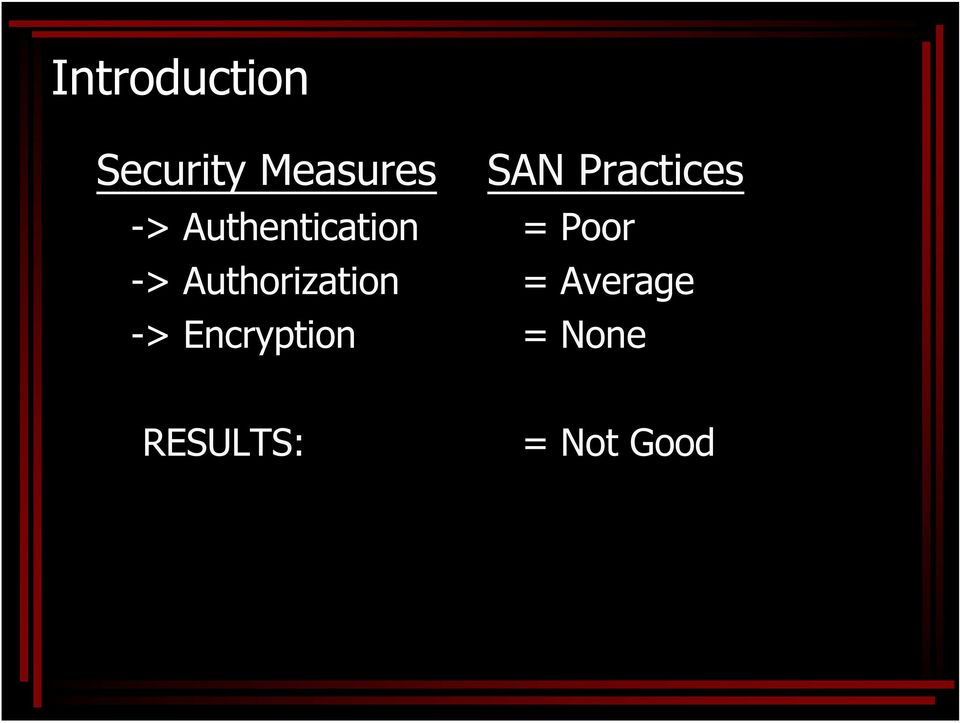 Encryption SAN Practices = Poor =