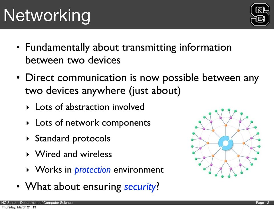 about) Lots of abstraction involved Lots of network components Standard