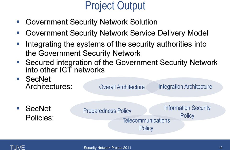 integration of the Government Security Network into other ICT networks SecNet Architectures: Overall