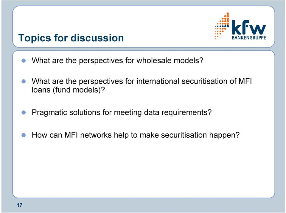 ! What are the perspectives for international securitisation of MFI