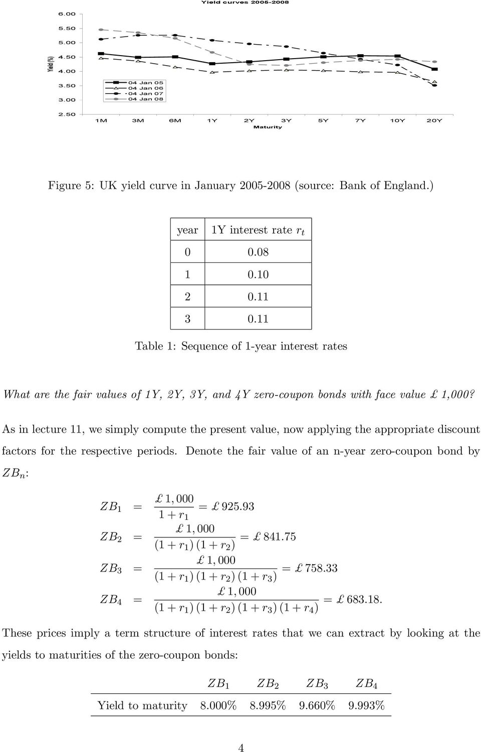 As in lecture 11, we simply compute the present value, now applying the appropriate discount factors for the respective periods.