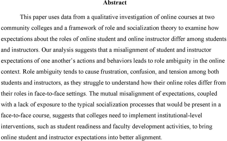 Our analysis suggests that a misalignment of student and instructor expectations of one another s actions and behaviors leads to role ambiguity in the online context.