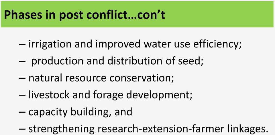 resource conservation; livestock and forage development;