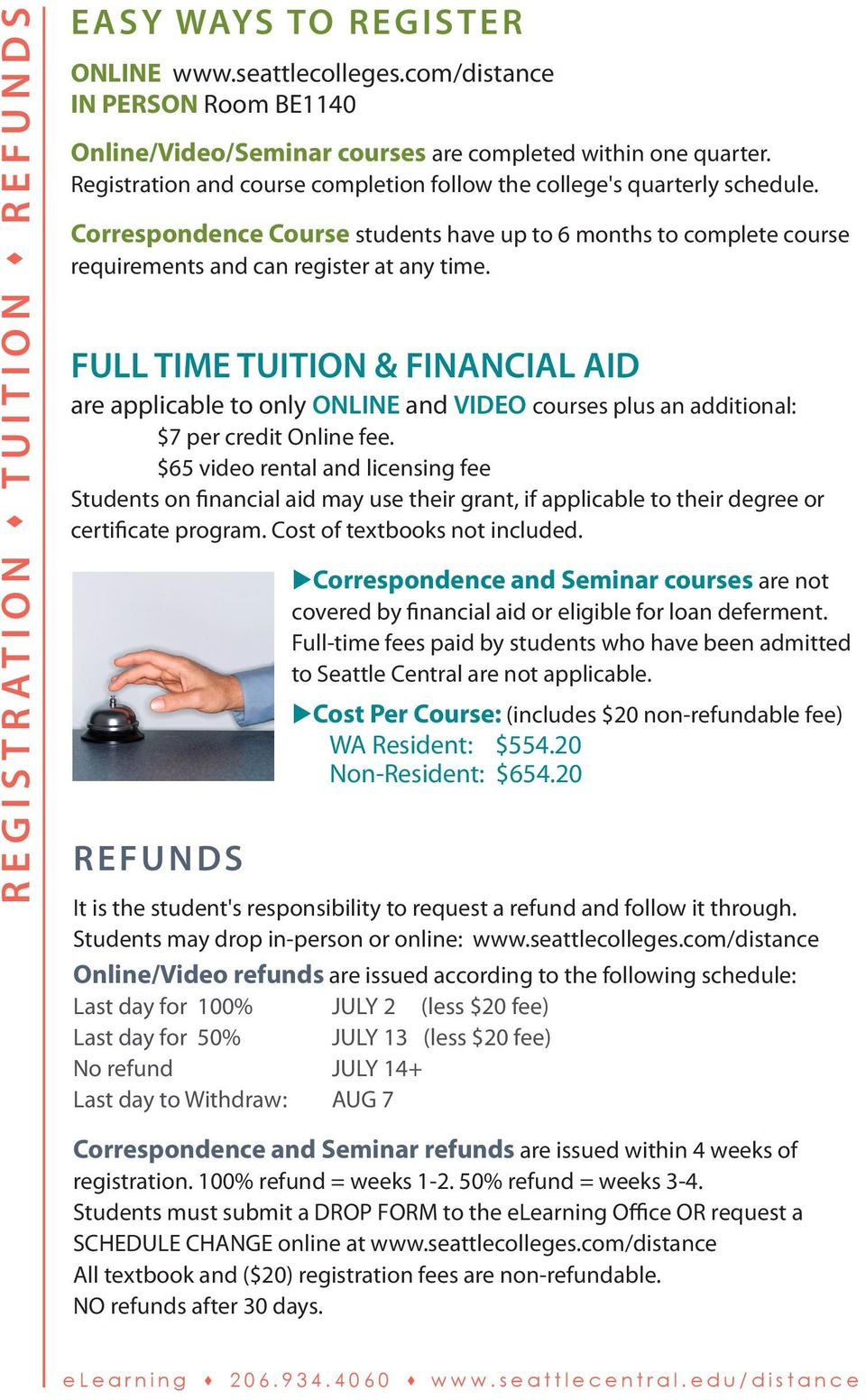 FULL TIME TUITION & FINANCIAL AID are applicable to only ONLINE and VIDEO courses plus an additional: $7 per credit Online fee.