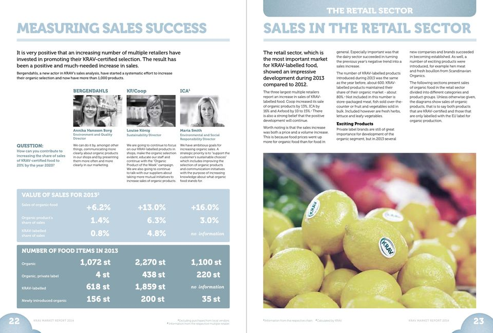 Bergendahls, a new actor in KRAV s sales analysis, have started a systematic effort to increase their organic selection and now have more than,000 products.