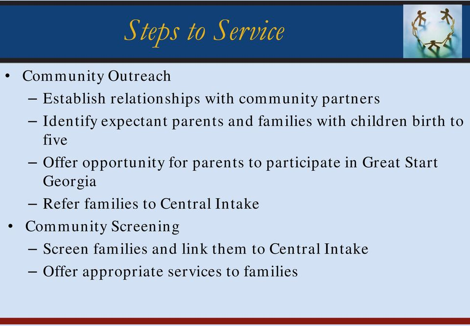 parents to participate in Great Start Georgia Refer families to Central Intake Community