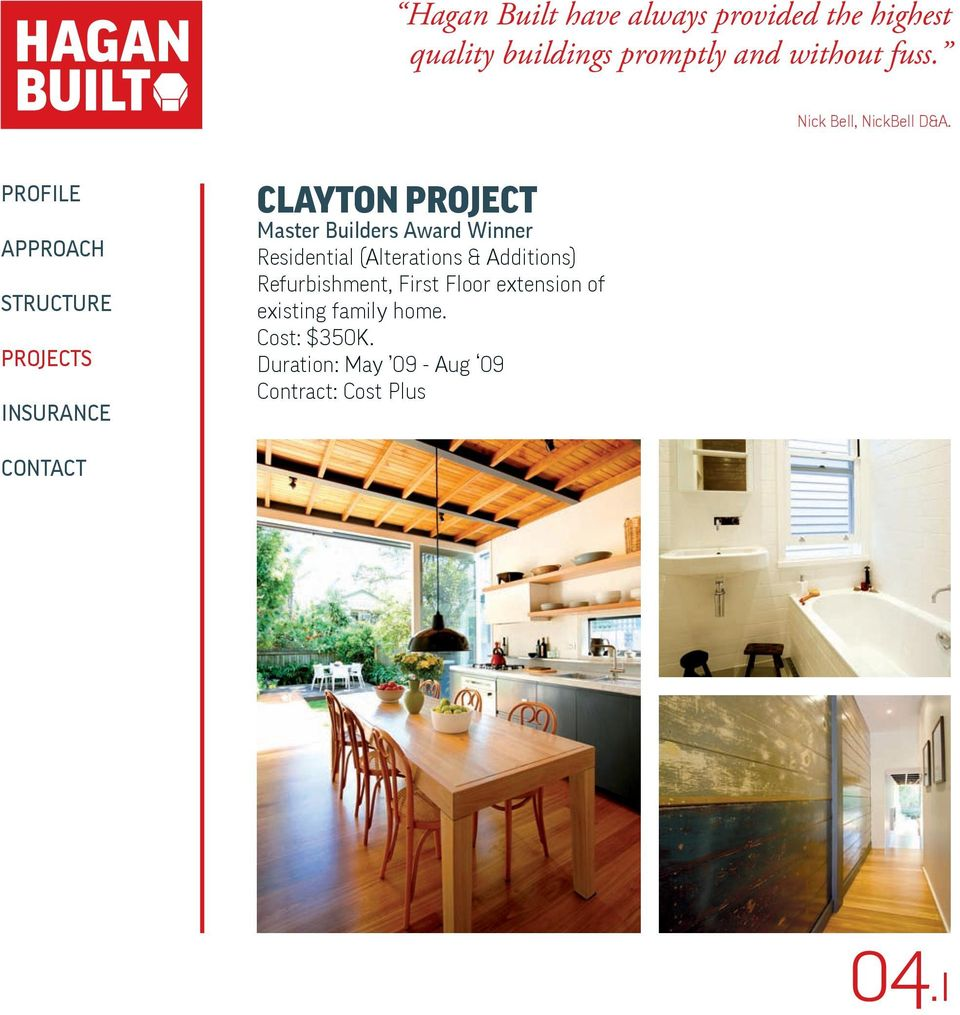 CLAYTON PROJECT Master Builders Award Winner Residential (Alterations &