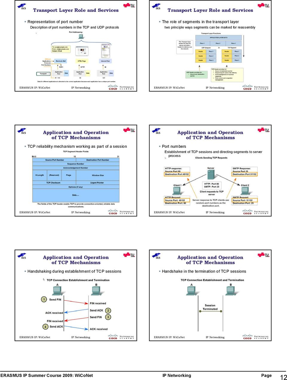reliability mechanism working as part of a session Port numbers Establishment of TCP sessions and directing segments to server process Application and Operation of TCP