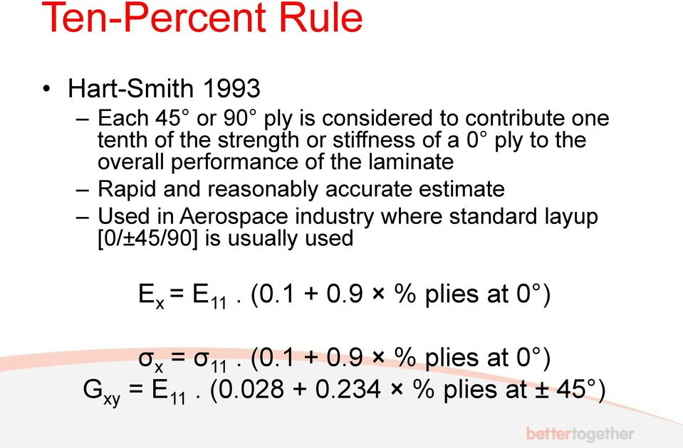 accurate estimate Used in Aerospace industry where standard layup [0/±45/90] is usually used E x = E