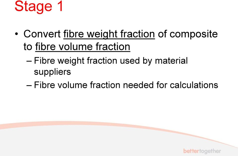 weight fraction used by material suppliers