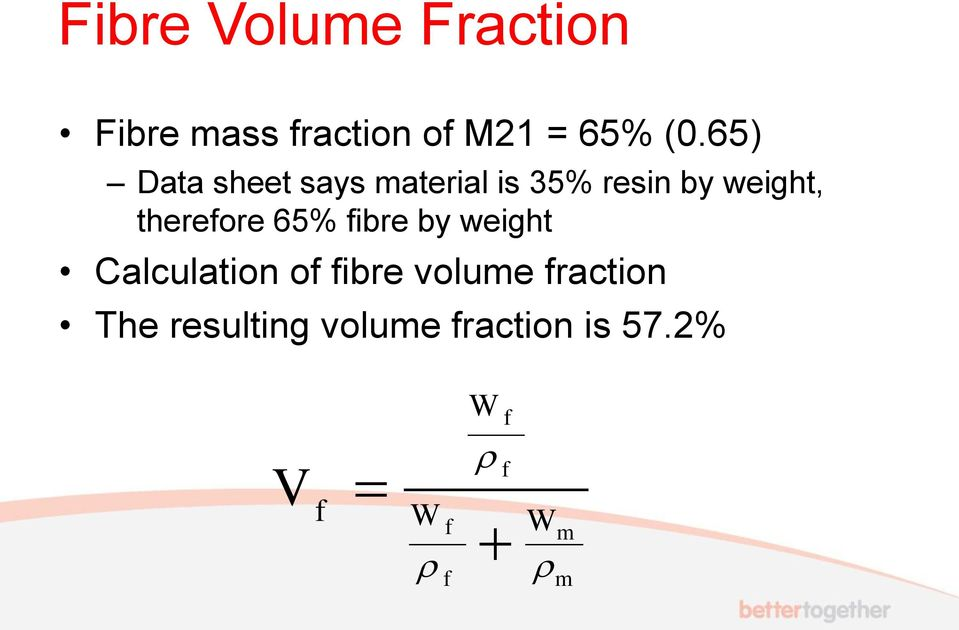 therefore 65% fibre by weight Calculation of fibre volume