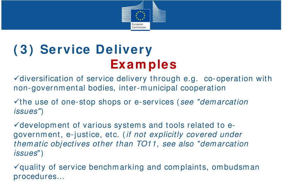 "(see ""demarcation issues"") development of various systems and tools related to e- government, e-justice, etc."
