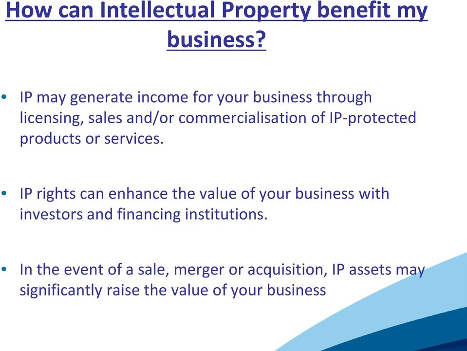 IP-protected products or services.