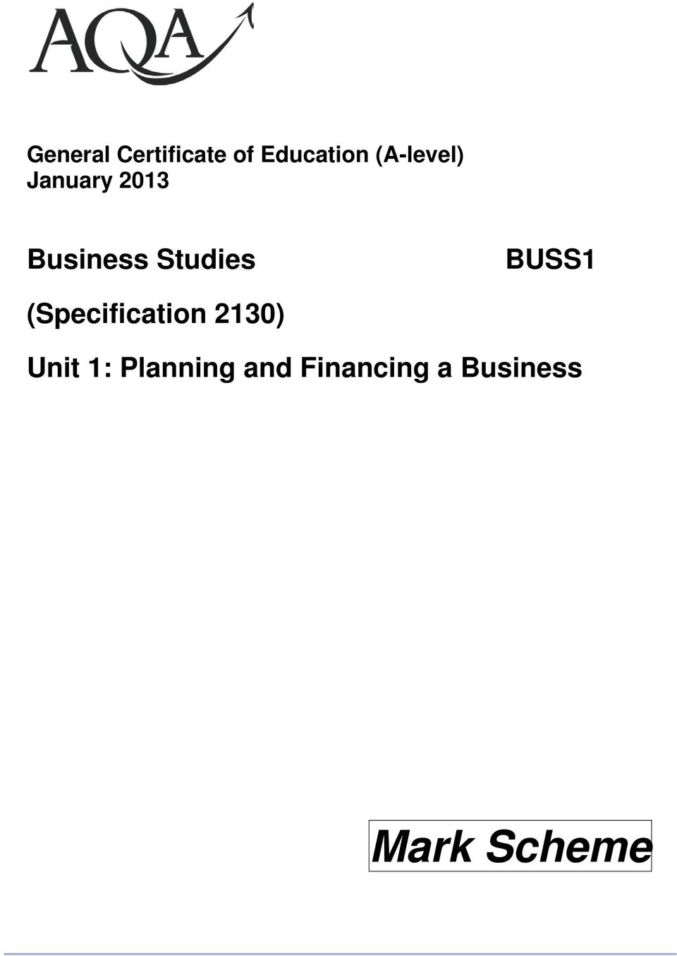 Studies BUSS1 (Specification 2130)