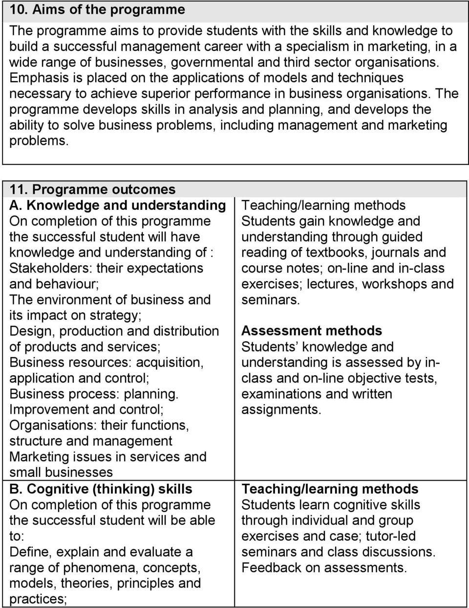 The programme develops skills in analysis and planning, and develops the ability to solve business problems, including management and marketing problems. 11. Programme outcomes A.