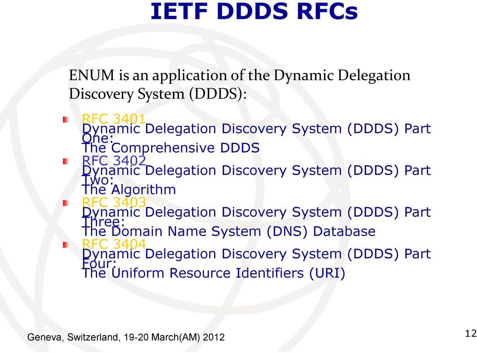 Algorithm RFC 3403 Dynamic Delegation Discovery System (DDDS) Part Three: The Domain Name System (DNS) Database RFC 3404