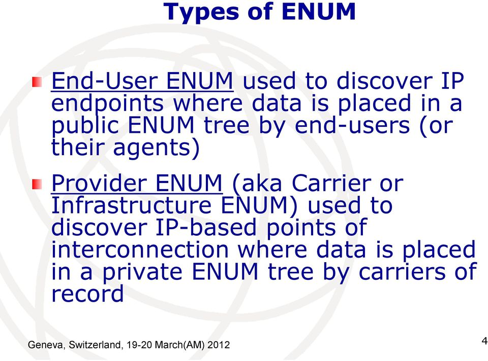 Infrastructure ENUM) used to discover IP-based points of interconnection where data