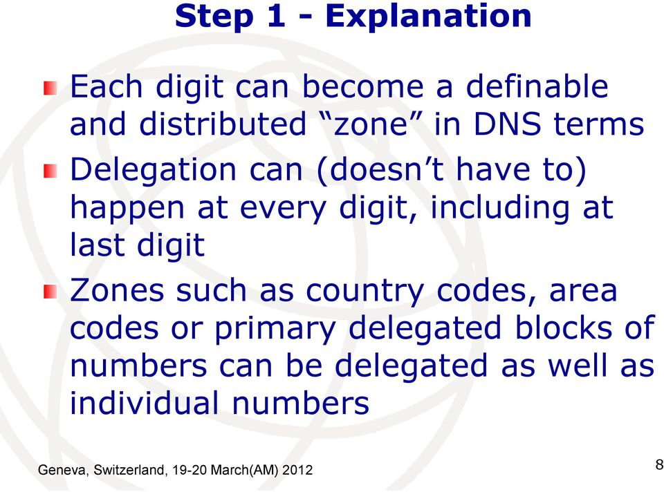 digit Zones such as country codes, area codes or primary delegated blocks of numbers