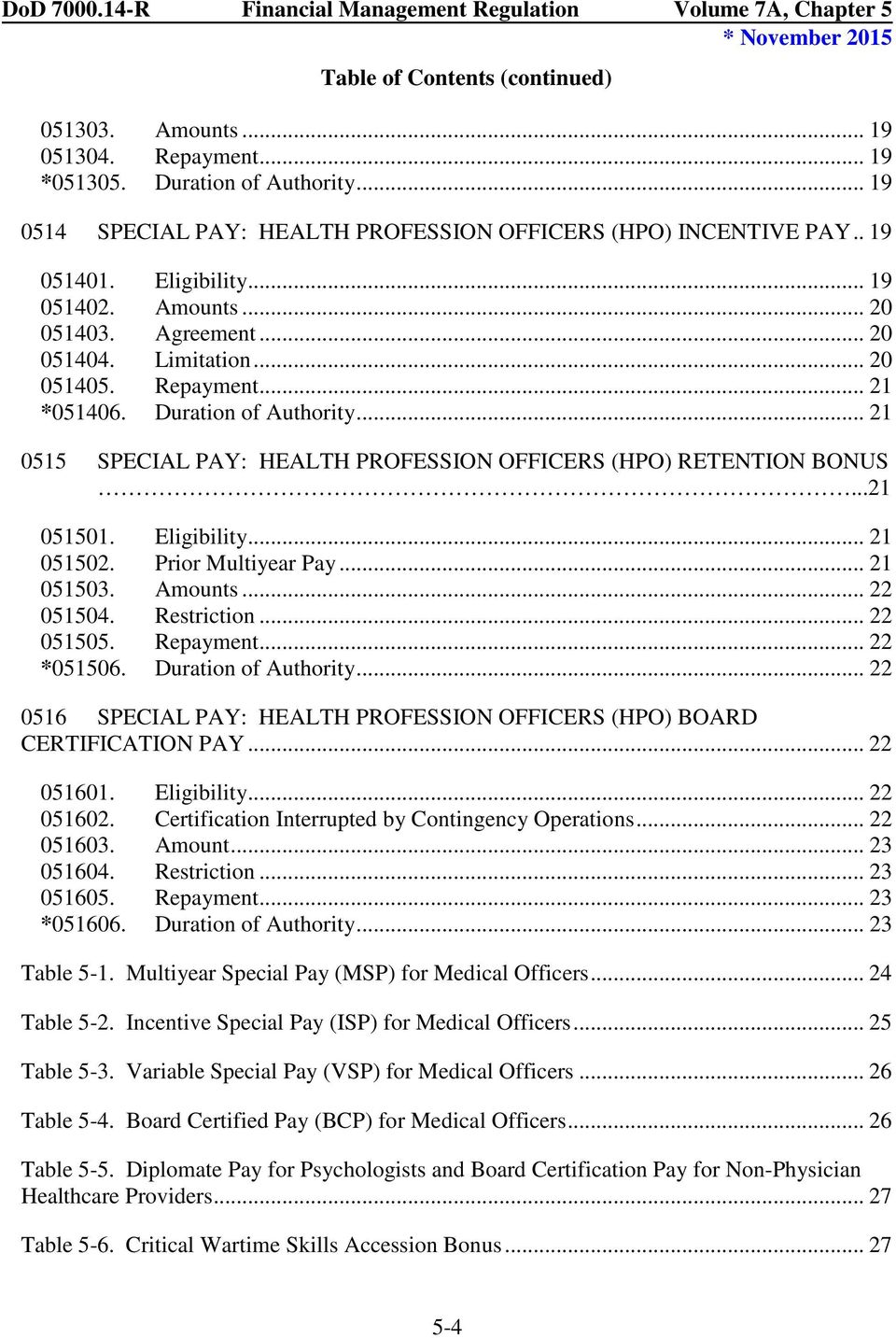 .. 21 0515 SPECIAL PAY: HEALTH PROFESSION OFFICERS (HPO) RETENTION BONUS...21 051501. Eligibility... 21 051502. Prior Multiyear Pay... 21 051503. Amounts... 22 051504. Restriction... 22 051505.