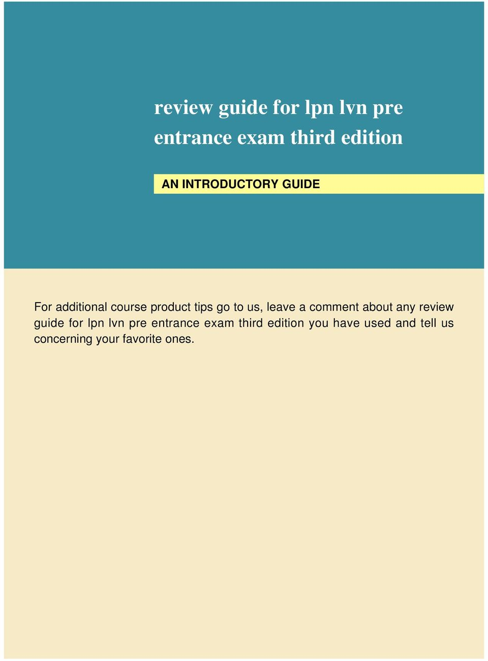 review guide for lpn lvn pre entrance exam third edition - PDF