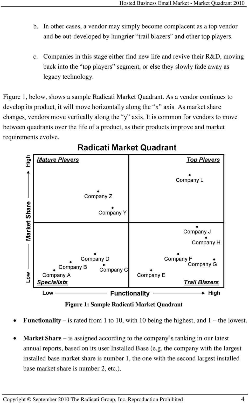 Figure 1, below, shows a sample Radicati Market Quadrant. As a vendor continues to develop its product, it will move horizontally along the x axis.
