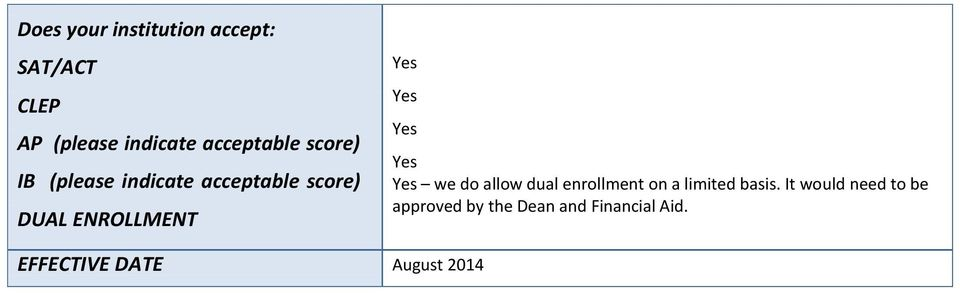 ENROLLMENT we do allow dual enrollment on a limited basis.