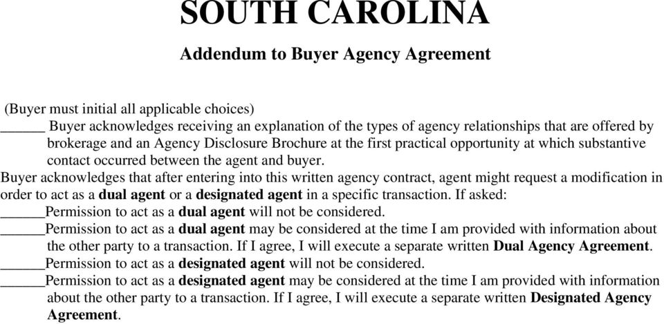 South Carolina Exclusive Right To Represent Buyer Buyer Agency