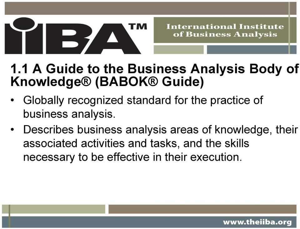 Describes business analysis areas of knowledge, their associated