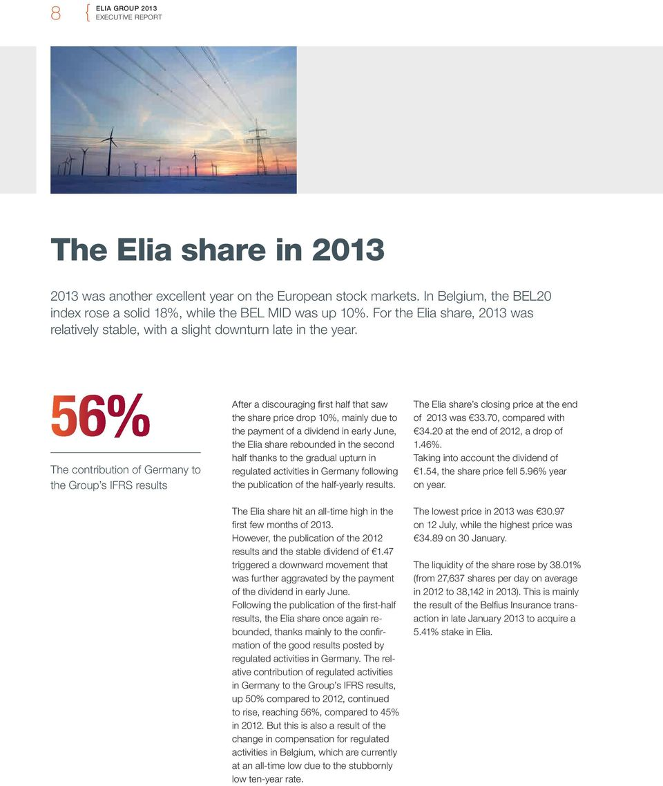56% The contribution of Germany to the Group s IFRS results After a discouraging first half that saw the share price drop 10%, mainly due to the payment of a dividend in early June, the Elia share