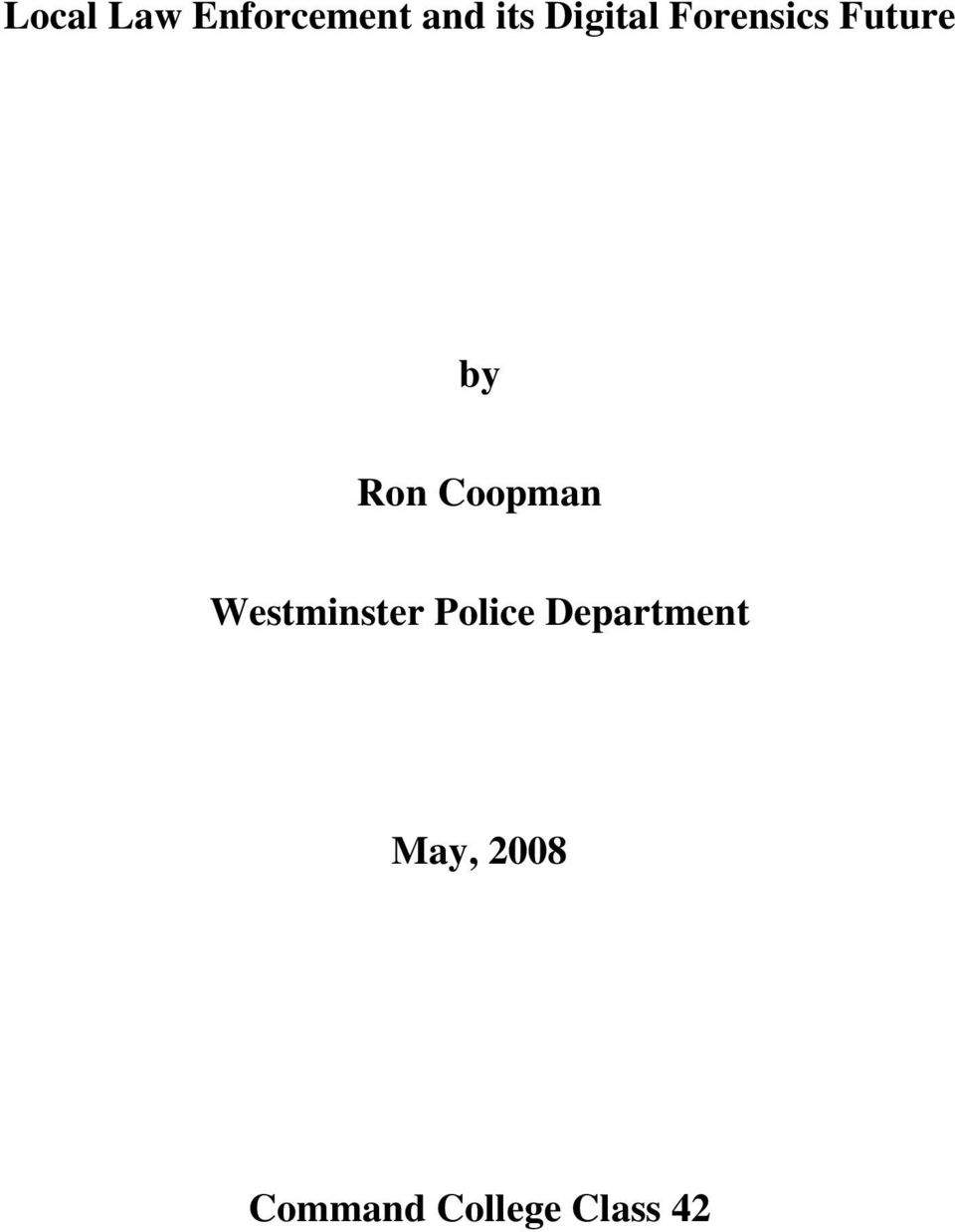 Coopman Westminster Police