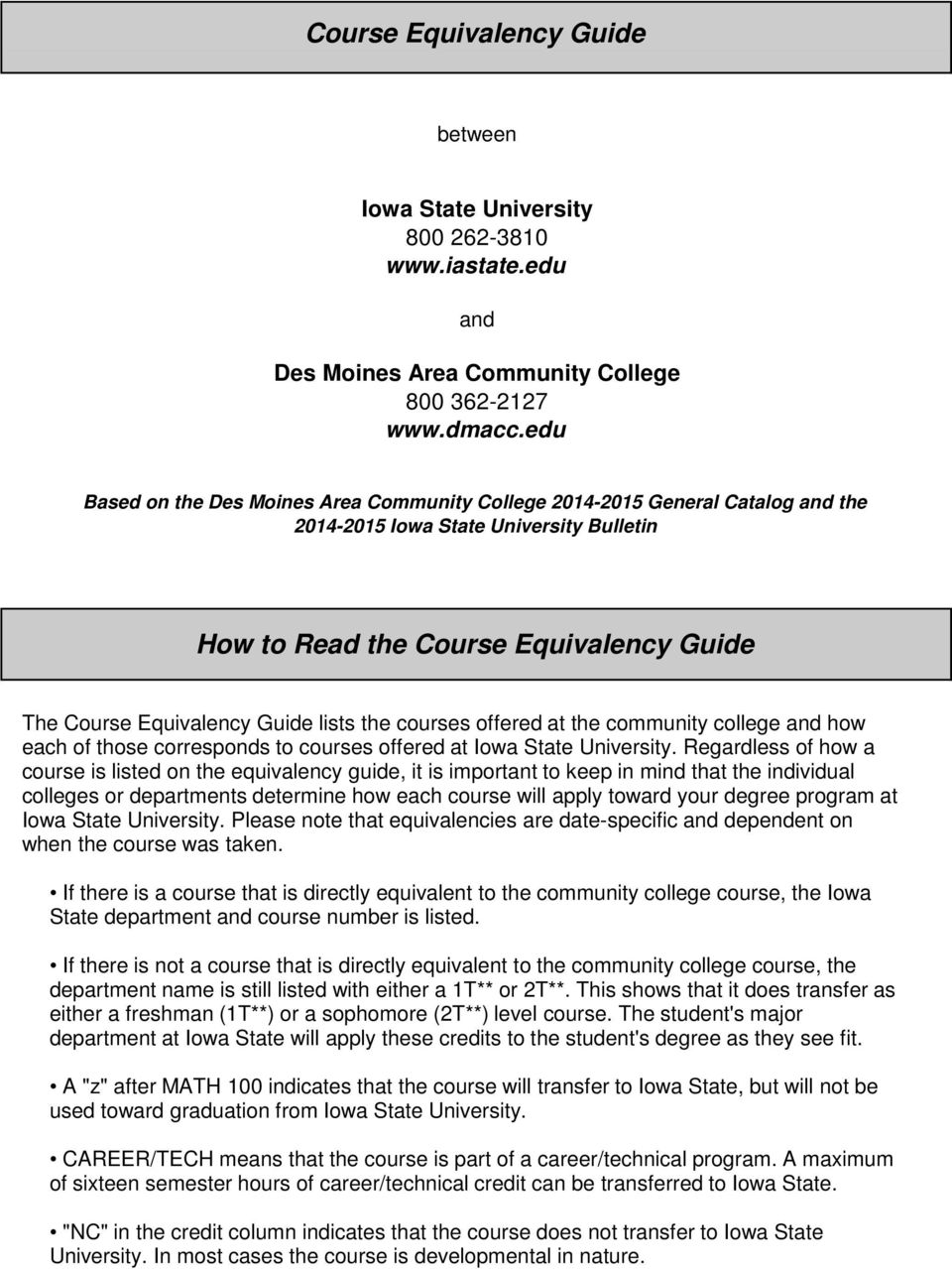 lists the courses offered at the community college and how each of those corresponds to courses offered at Iowa State University.