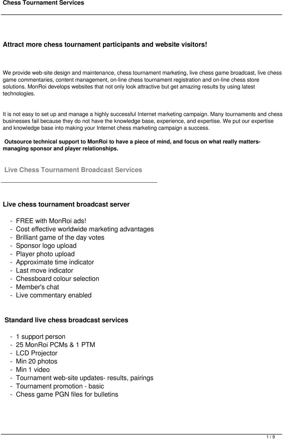 Attract more chess tournament participants and website