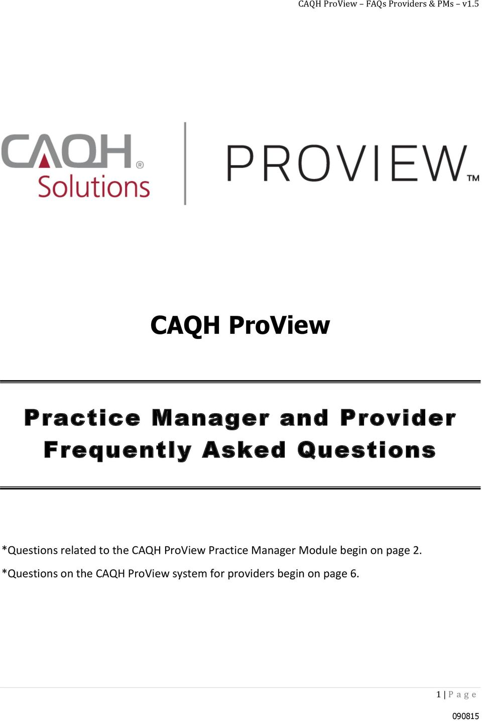 Practice Manager Module begin on page 2.