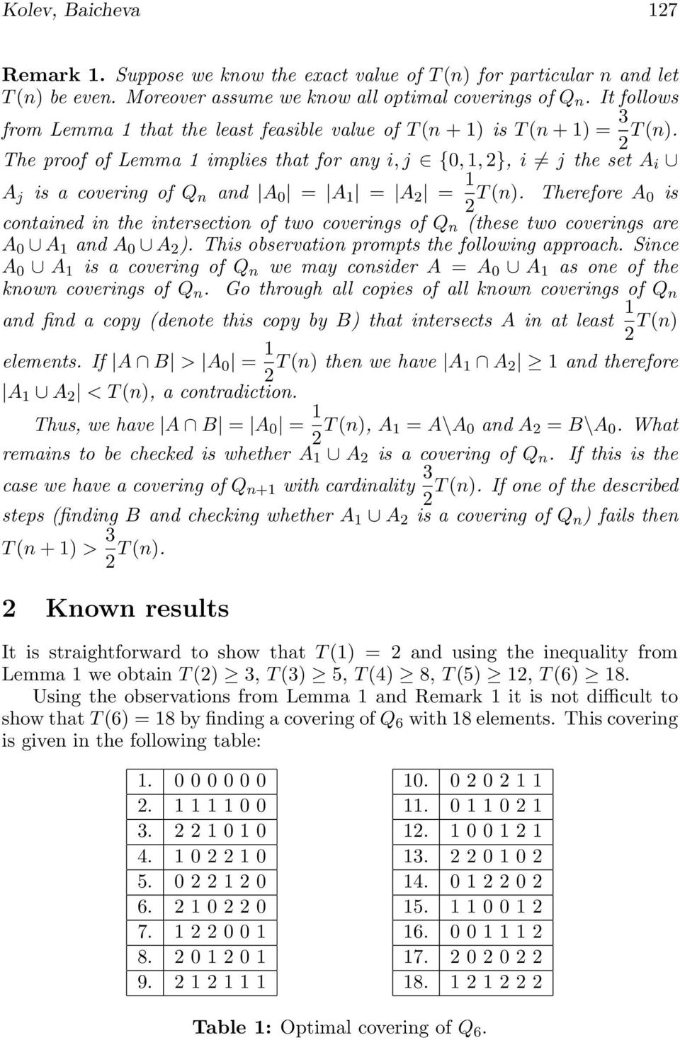 The proof of Lemma 1 implies that for any i, j {0, 1, }, i j the set A i A j is a covering of Q n and A 0 = A 1 = A = 1 T (n).