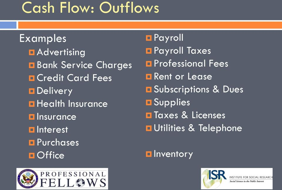 Office Payroll Payroll Taxes Professional Fees Rent or Lease