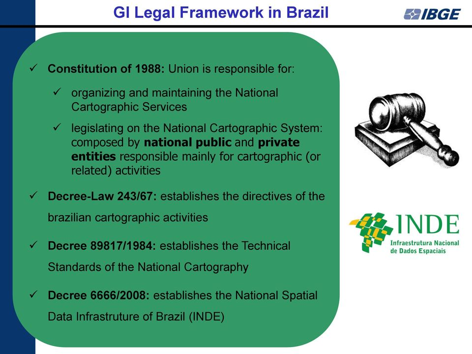 related) activities Decree-Law 243/67: establishes the directives of the brazilian cartographic activities Decree 89817/1984: establishes