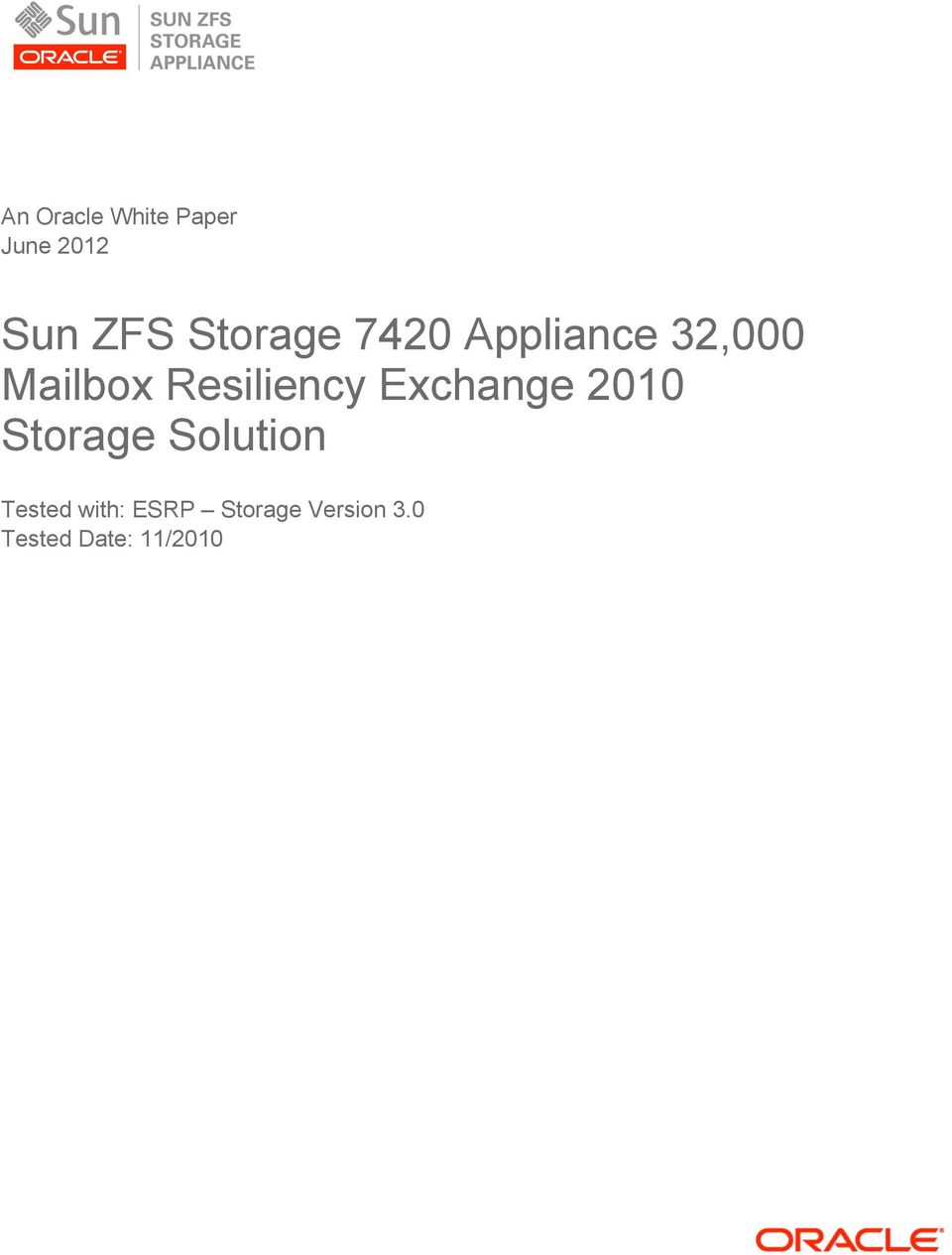 Resiliency Exchange 2010 Storage Solution