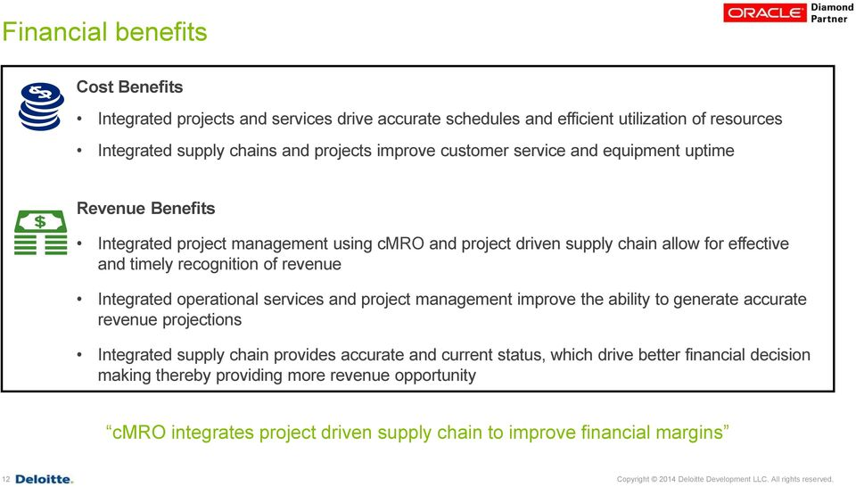 operational services and project management improve the ability to generate accurate revenue projections Integrated supply chain provides accurate and current status, which drive better