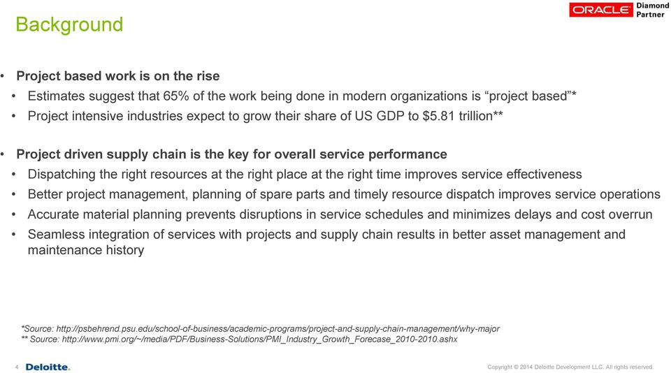 81 trillion** Project driven supply chain is the key for overall service performance Dispatching the right resources at the right place at the right time improves service effectiveness Better project