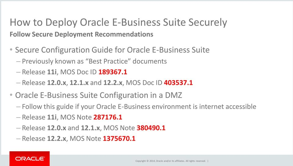 1 Oracle E-Business Suite Configuration in a DMZ Follow this guide if your Oracle E-Business environment is internet accessible