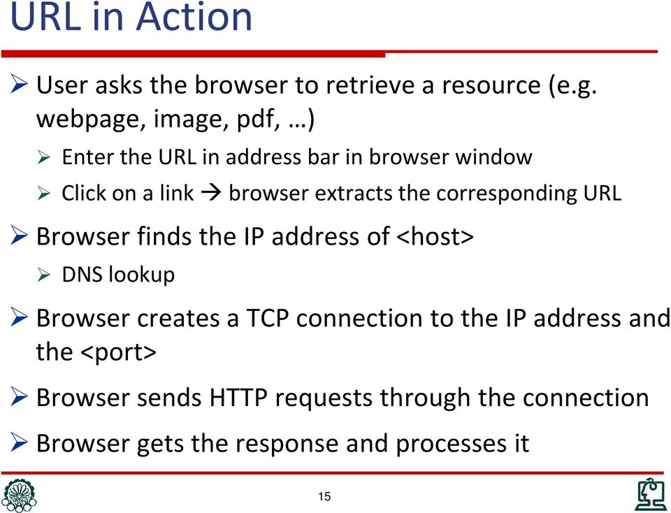 extracts the corresponding URL Browser finds the IP address of <host> DNS lookup Browser creates a