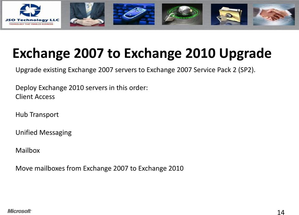Deploy Exchange 2010 servers in this order: Client Access Hub
