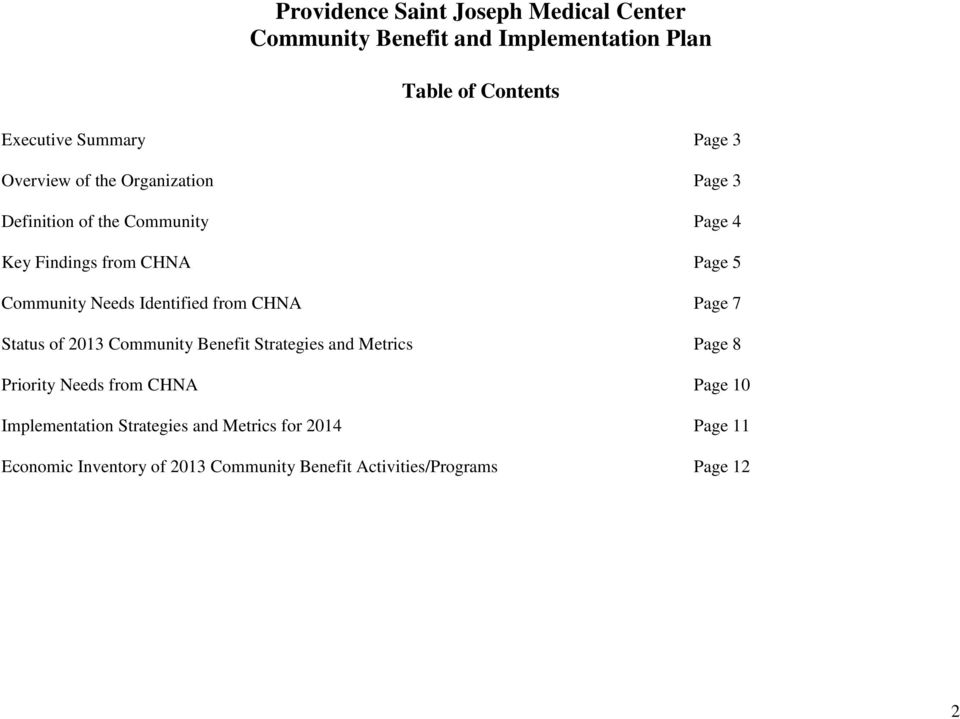 Identified from CHNA Page 7 Status of 2013 Community Benefit Strategies and Metrics Page 8 Priority Needs from CHNA Page 10