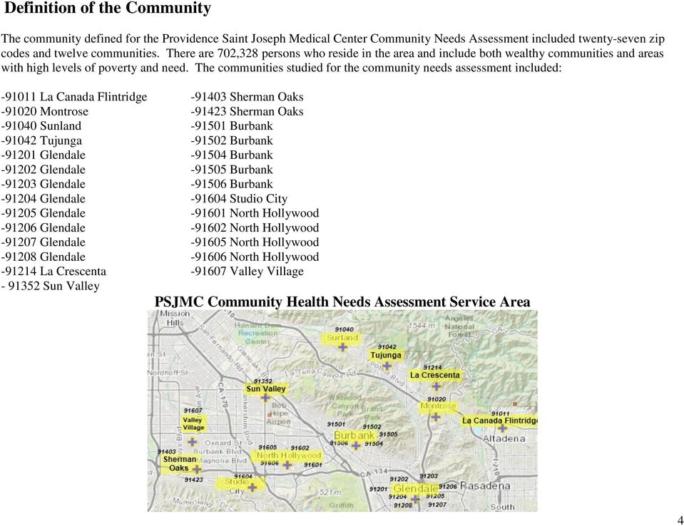 The communities studied for the community needs assessment included: -91011 La Canada Flintridge -91403 Sherman Oaks -91020 Montrose -91423 Sherman Oaks -91040 Sunland -91501 Burbank -91042 Tujunga