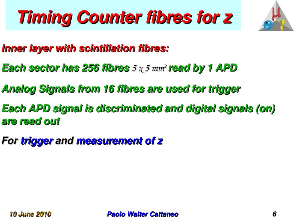 from 16 fibres are used for trigger Each APD signal is discriminated