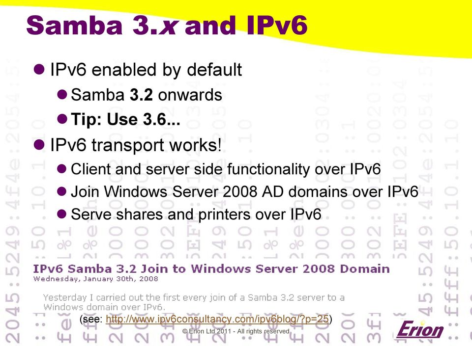Client and server side functionality over IPv6 Join Windows Server