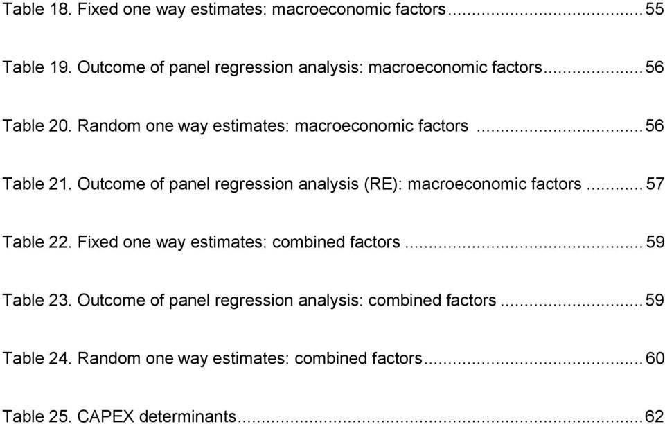 .. 56 Table 21. Outcome of panel regression analysis (RE): macroeconomic factors... 57 Table 22.