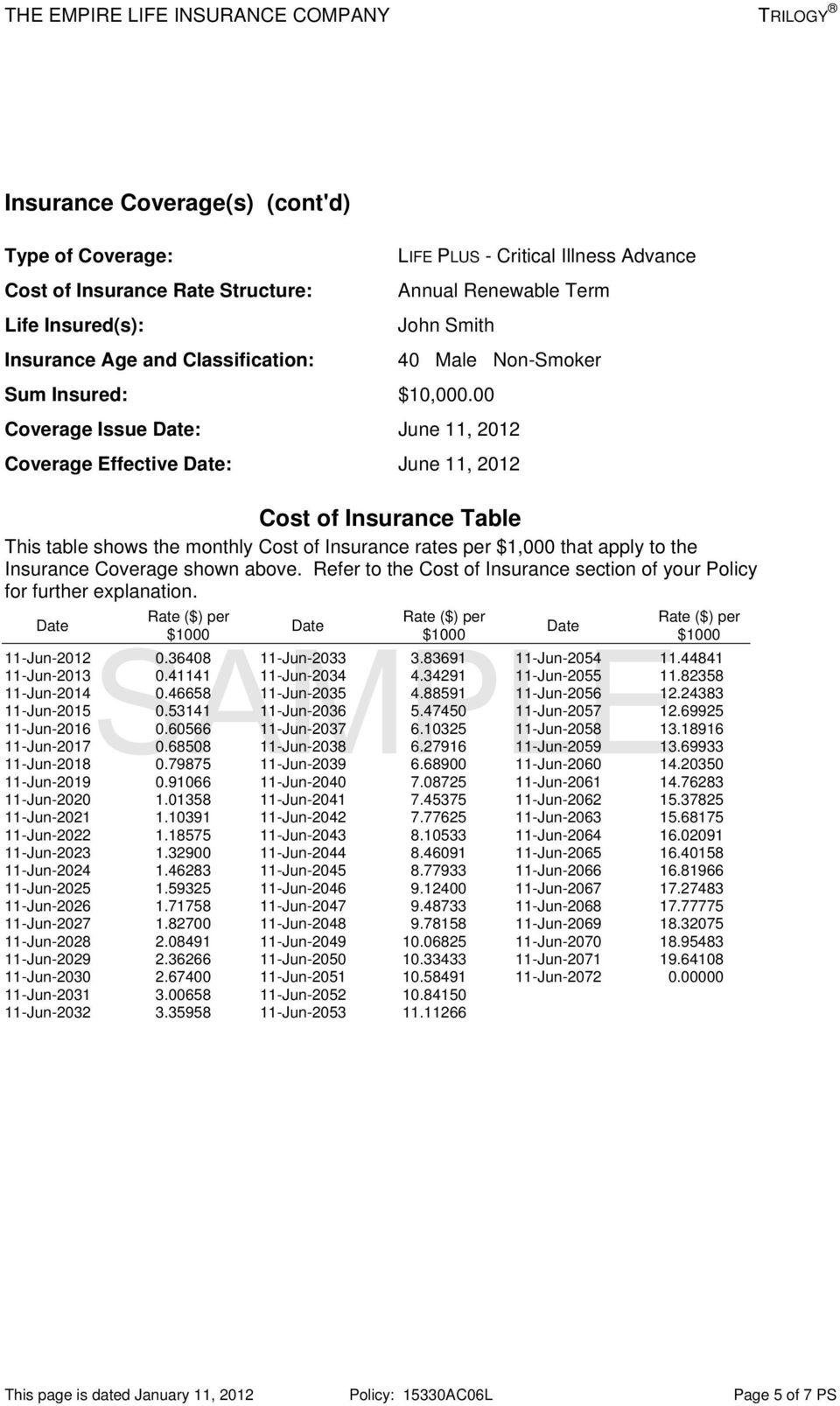 00 Coverage Issue Date: June 11, 2012 Coverage Effective Date: June 11, 2012 Cost of Insurance Table This table shows the monthly Cost of Insurance rates per $1,000 that apply to the Insurance