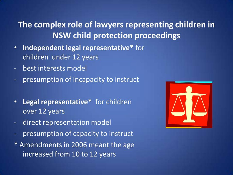 incapacity to instruct Legal representative* for children over 12 years - direct representation