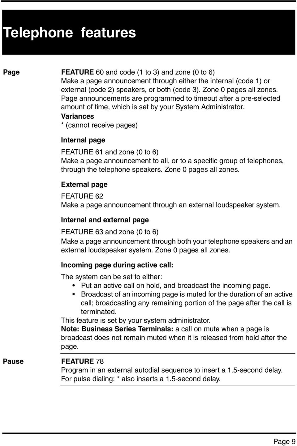 * (cannot receive pages) Internal page FEATURE 61 and zone (0 to 6) Make a page announcement to all, or to a specific group of telephones, through the telephone speakers. Zone 0 pages all zones.